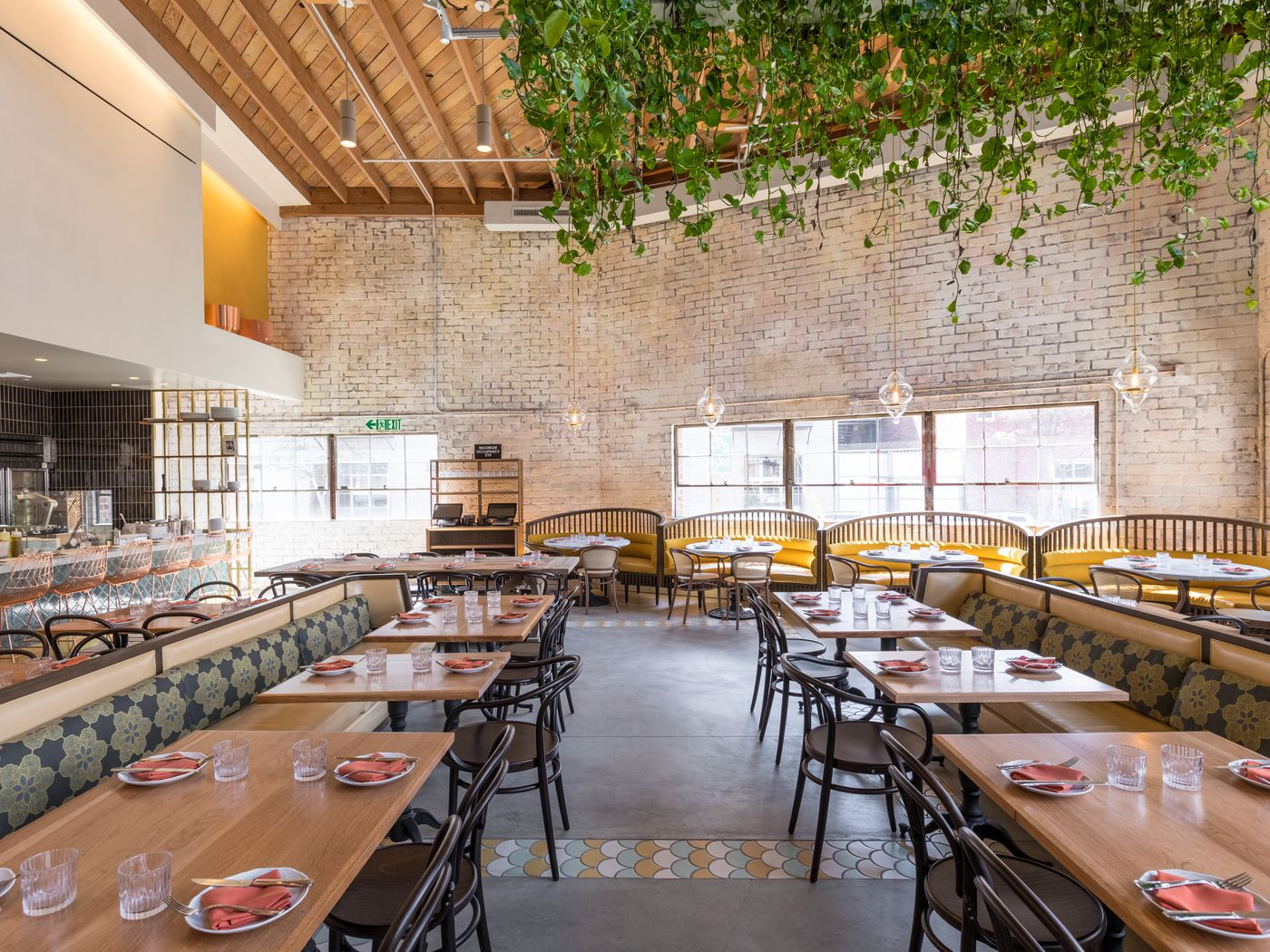 Picture of: Restaurant Trend Bavel Embraces Plants White Marble And Brass In La Eater