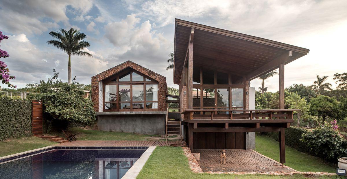 Brick house with backyard pool