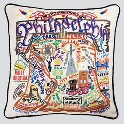 """Look for this embroidered <a href=""""http://weheartphilly.bigcartel.com/product/philadelphia-pillow"""">Philadelphia pillow</a> ($148) at Midtown Village's Open House and Verde boutiques."""