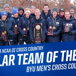 Liz Darger, back row, second from right, poses with the BYU men's cross-country team after the team placed second at the 2018 NCAA Cross Country Championships. Front, from left: Ed Eyestone, Conner Mantz, Jacob Heslington, Rory Linkletter, Clayton Young, Connor McMillan, Brayden McLelland, Brandon Garnica and Clason Shumway. Back, from left: Zac Jacklin, Jared Ward, Danny Carney, Isaac Wood, Liz Darger and Dustin Williams.