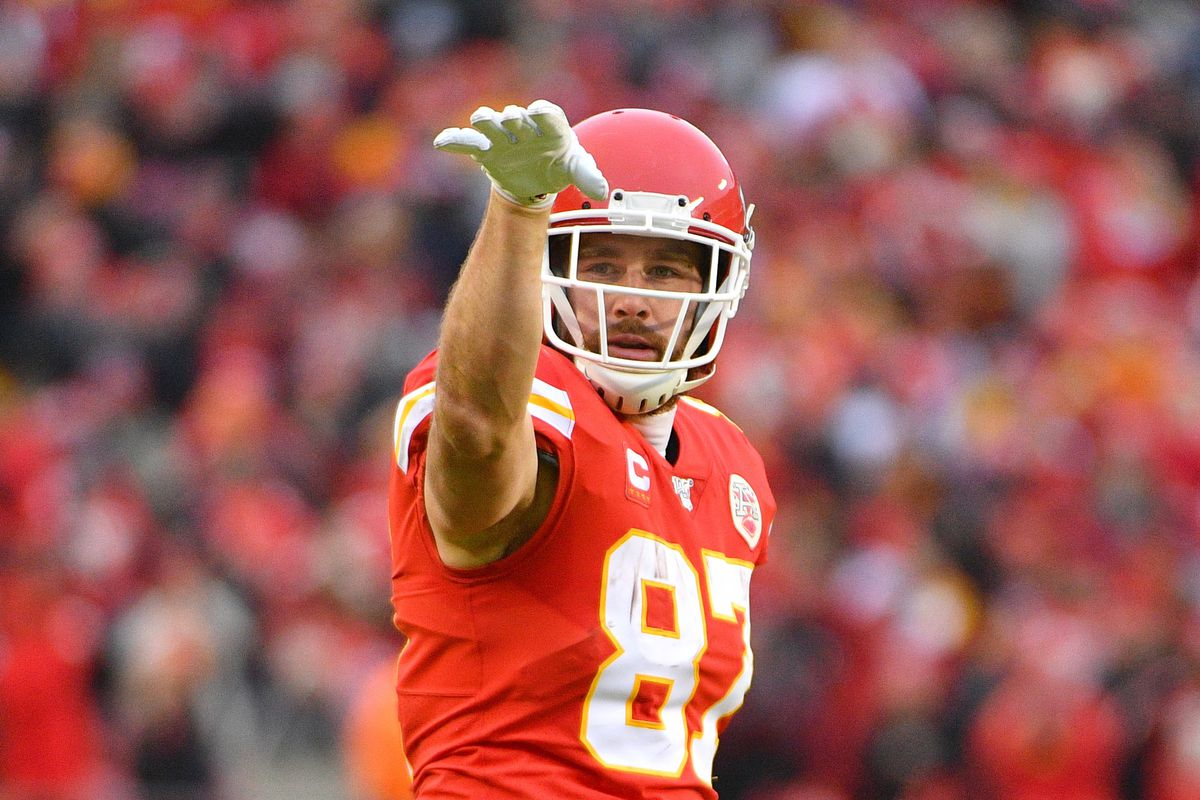 Kansas City Chiefs tight end Travis Kelce celebrates after a play during the AFC Divisional Round playoff football game against the Houston Texans at Arrowhead Stadium.