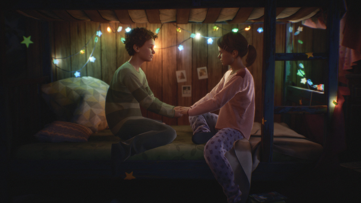 two people holding hands under a bunk bed in Tell Me Why