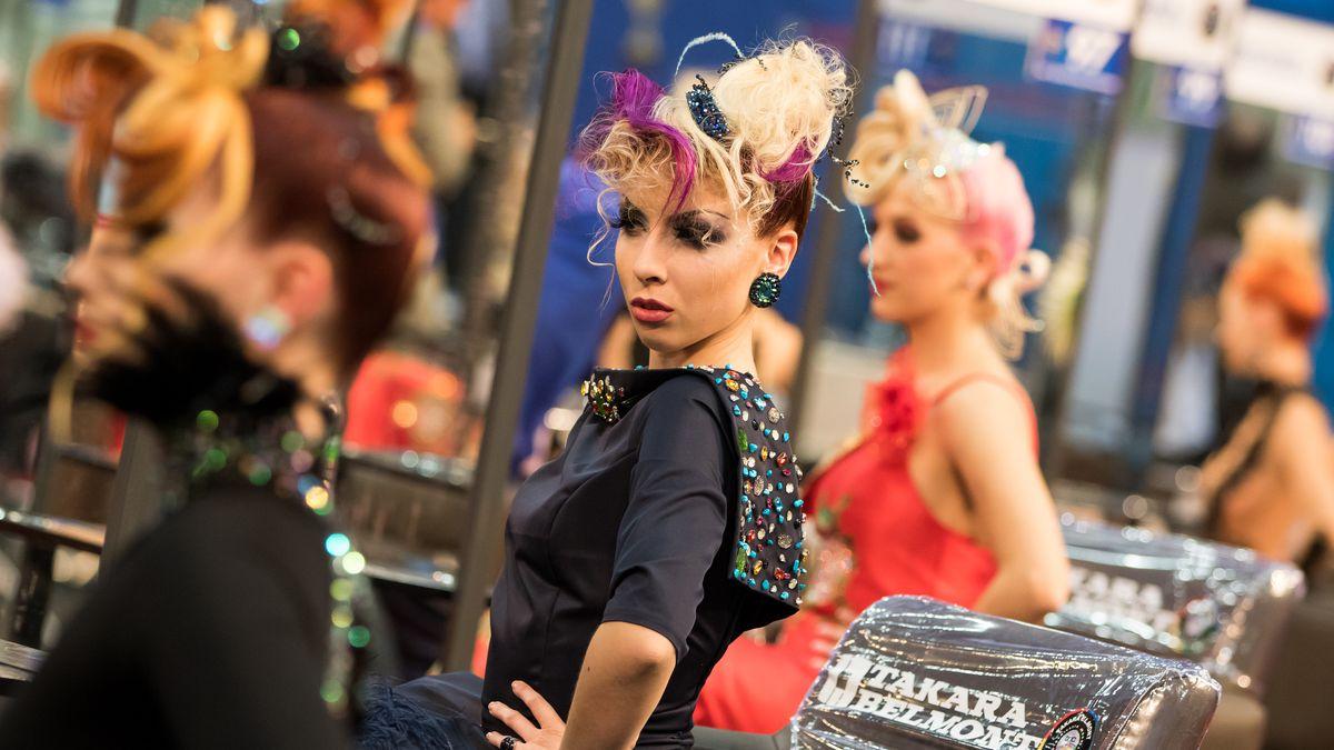 Models await judging at Hairworld 2016 in South Korea.