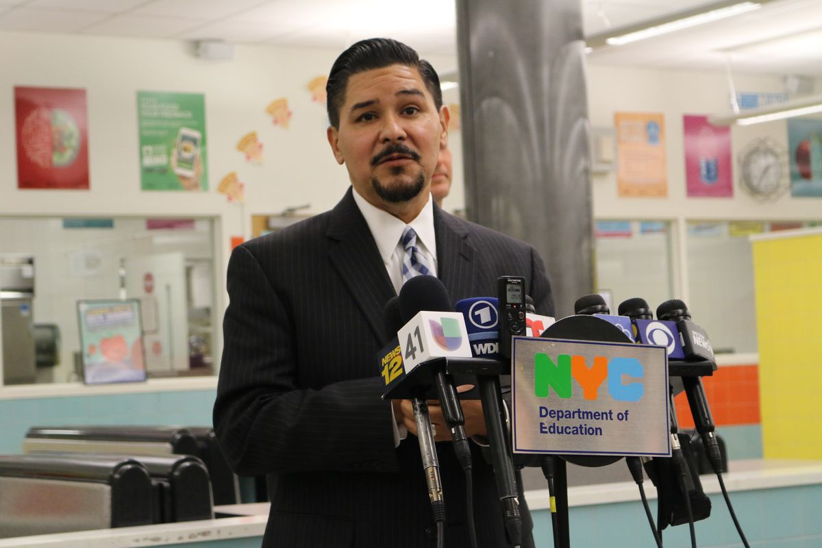 Chancellor Richard Carranza at a press conference earlier this year.