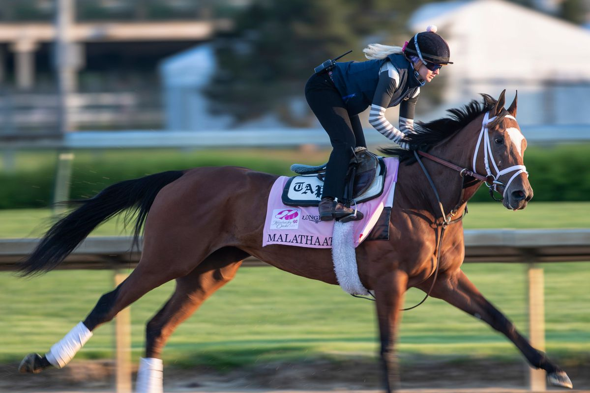Kentucky Oaks hopeful Malathaat gallops on the track at Churchill Downs during a morning workout. April 20, 2020.