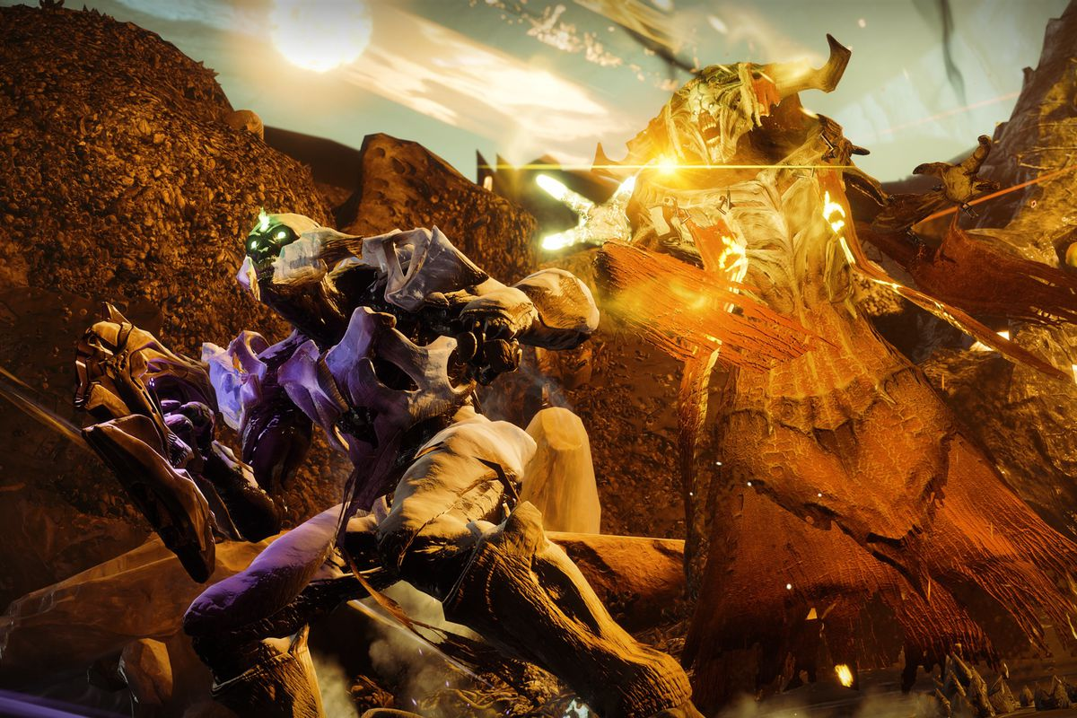 Nokris and a Hive acolyte in a screenshot of Destiny 2: Warmind