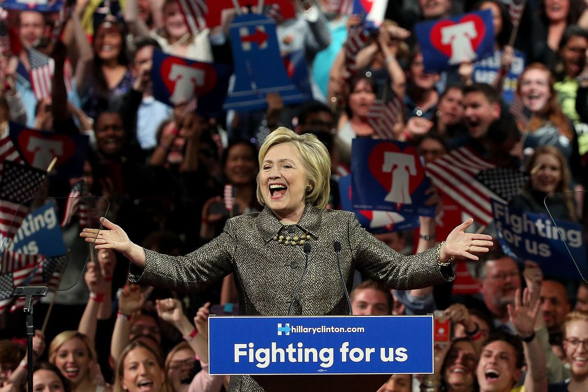Hillary Clinton probably doesn't want to look this happy when talking about the economy, a pollster's new findings suggest.