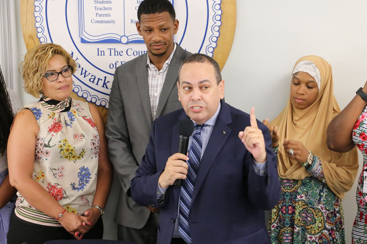 Superintendent Roger León at a school board meeting in July.