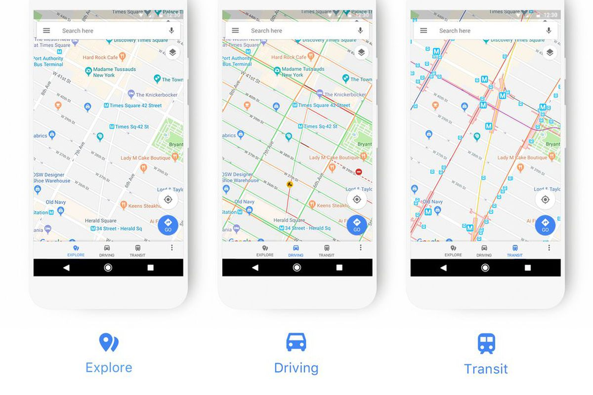 Image showing three phone screens showing three different maps.