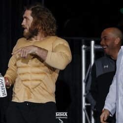 Tom Lawlor shows up in costume at the Liddell vs. Ortiz 3 ceremonial weigh-ins in Inglewood, Calif.