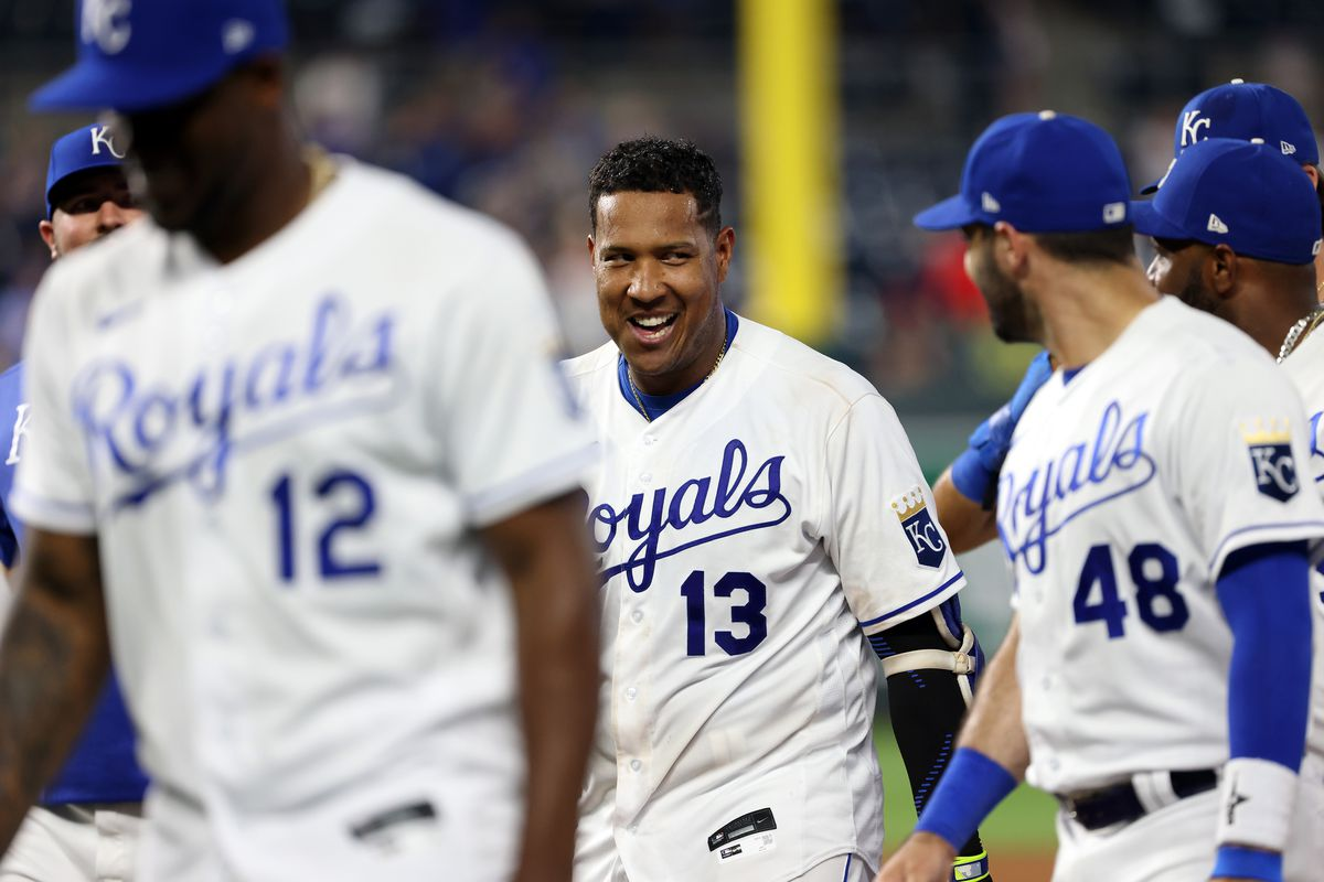 Salvador Perez #13 of the Kansas City Royals reacts after hitting the game-winning walk-off single to defeat the Cincinnati Reds 7-6 and win the game in the bottom of the 9th inning at Kauffman Stadium on July 06, 2021 in Kansas City, Missouri.