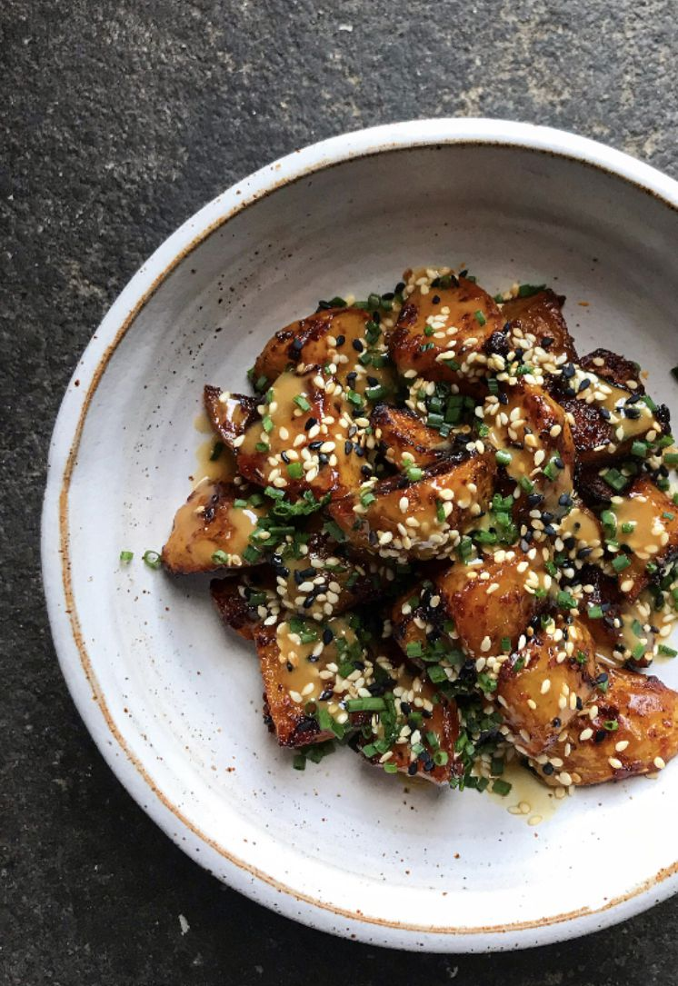 Spicy roast potatoes with tahini and soy by Ixta Belfrage and Yotam Ottolenghi