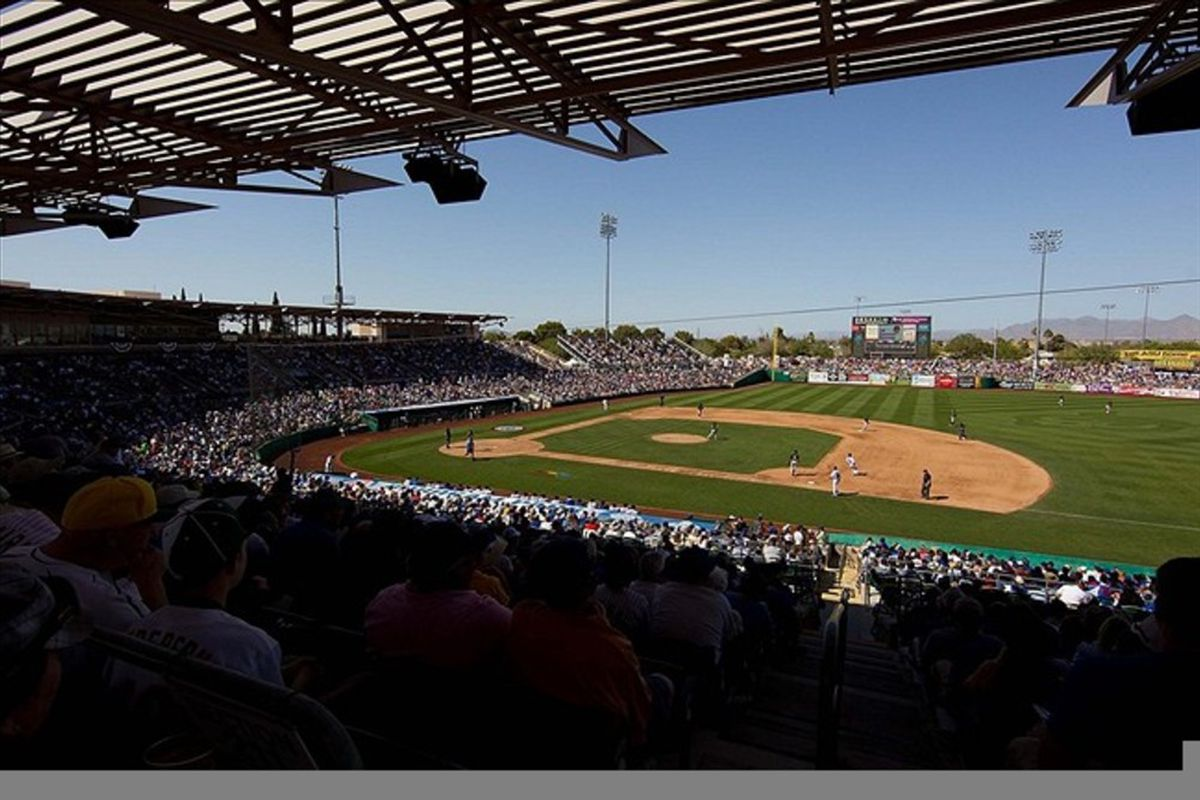 A general view of the stadium grounds during the game between the Chicago Cubs and Oakland Athletics during a spring training game at HoHoKam Park.  Credit: Allan Henry-US PRESSWIRE