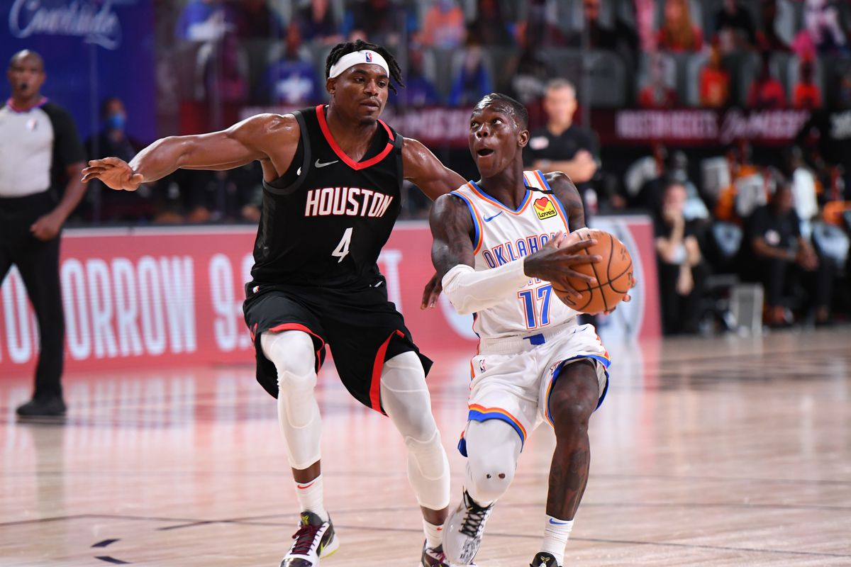 Dennis Schroder of the Oklahoma City Thunder drives to the basket against the Houston Rockets during Round One, Game Seven of the NBA Playoffs on September 2, 2020 at AdventHealth Arena in Orlando, Florida.