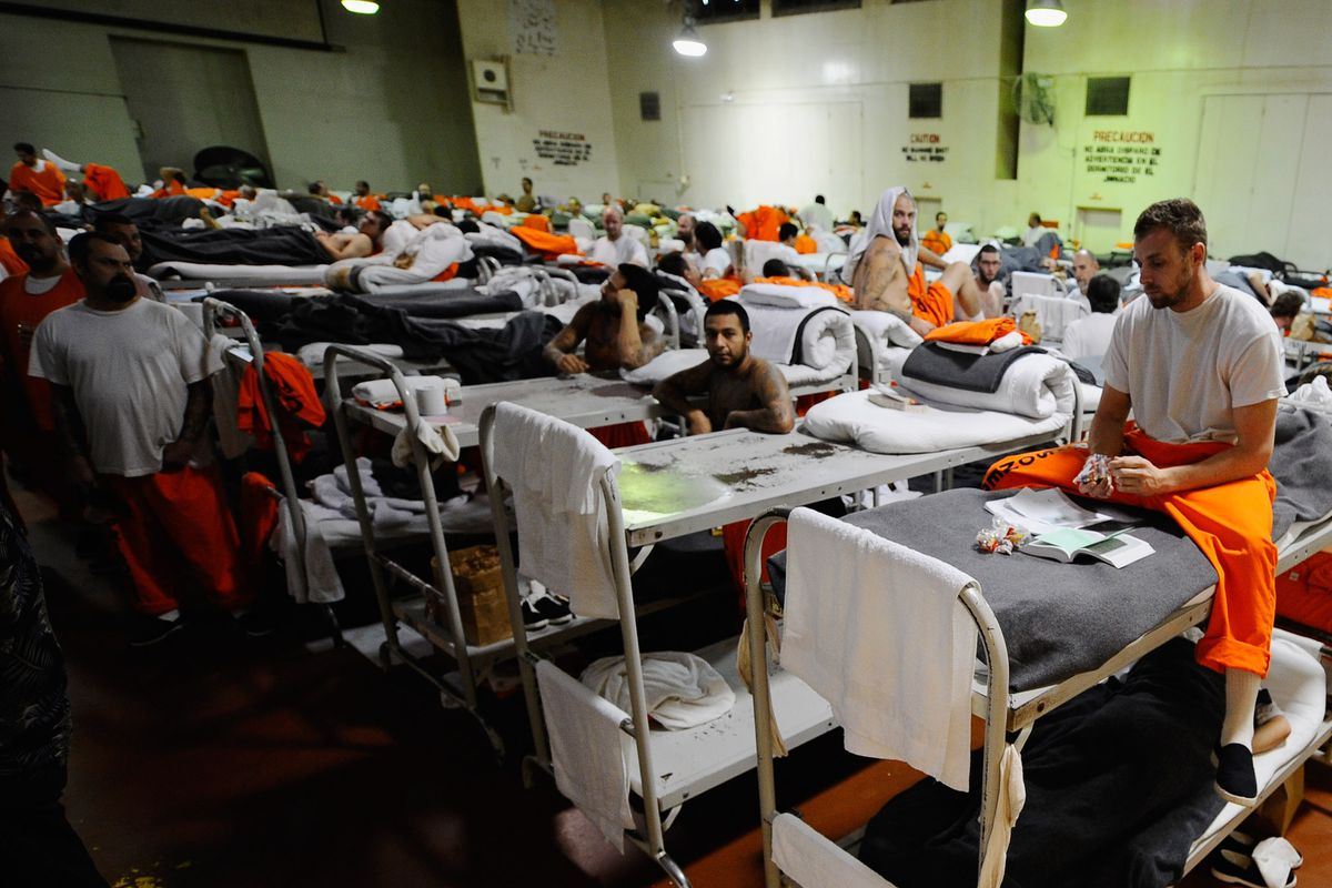 An overcrowded prison facility.
