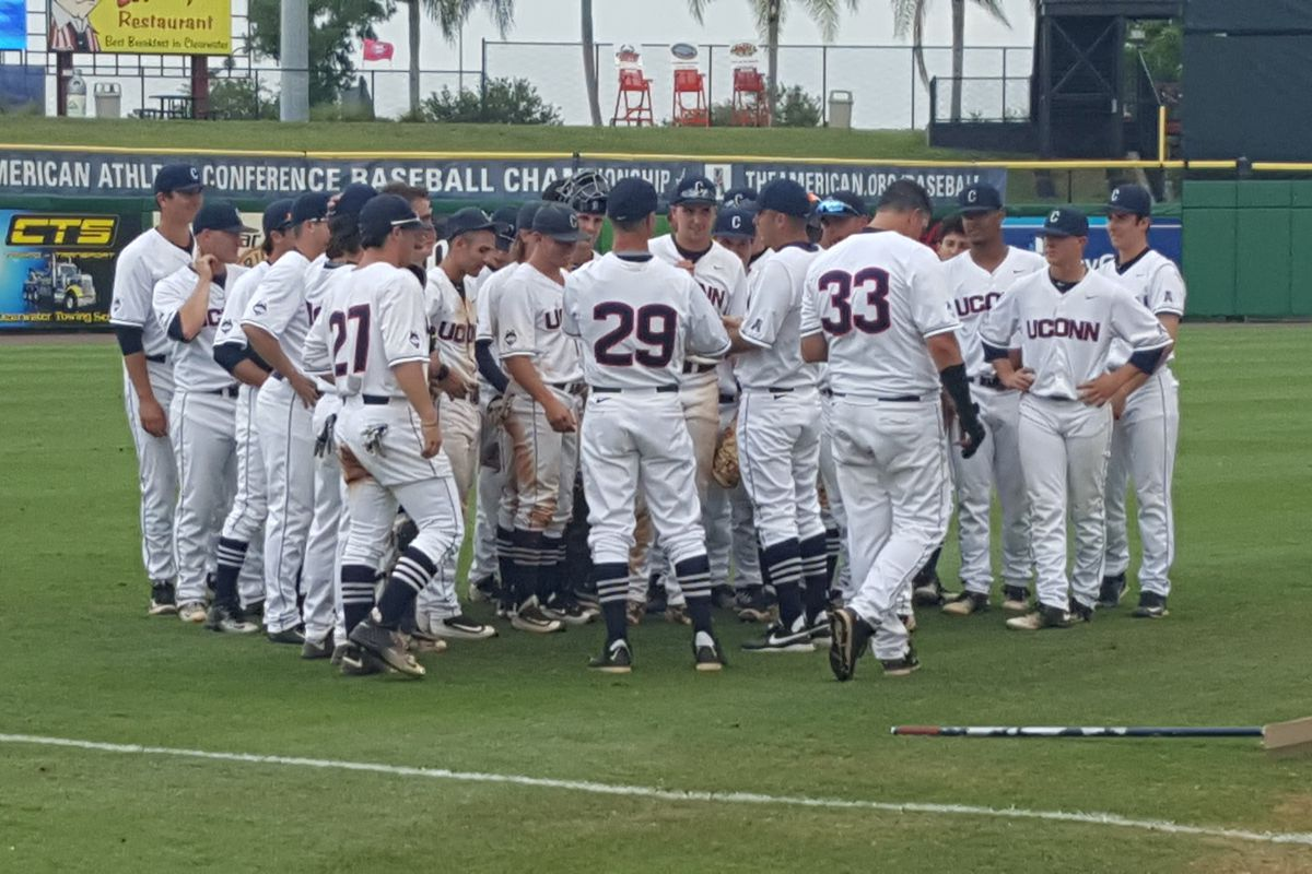 Coach Penders addresses his team after the win