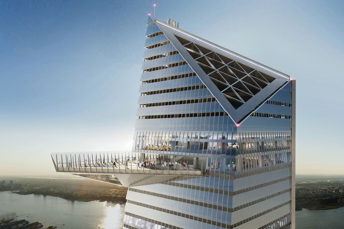 A rendering of 30 Hudson Yards, an angular skyscraper with a big observation deck