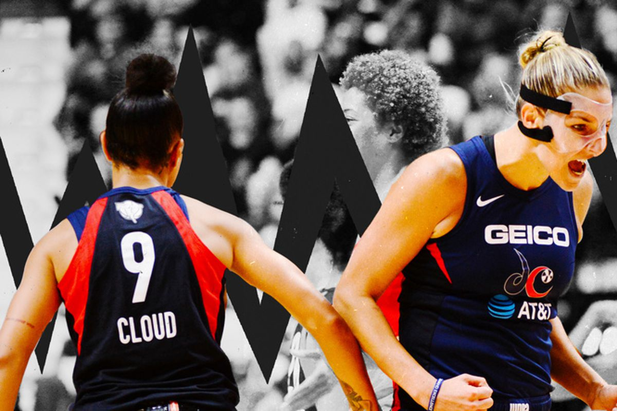 Washington Mystics players celebrate during Game 3 of the WNBA Finals.