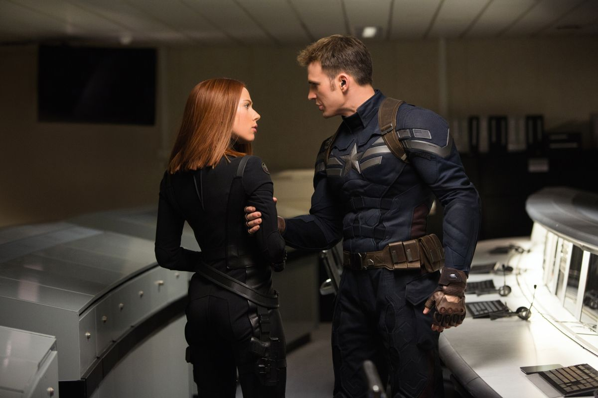 """Scarlett Johansson is Black Widow and Chris Evans is Captain America in """"Captain America: The Winter Soldier."""""""