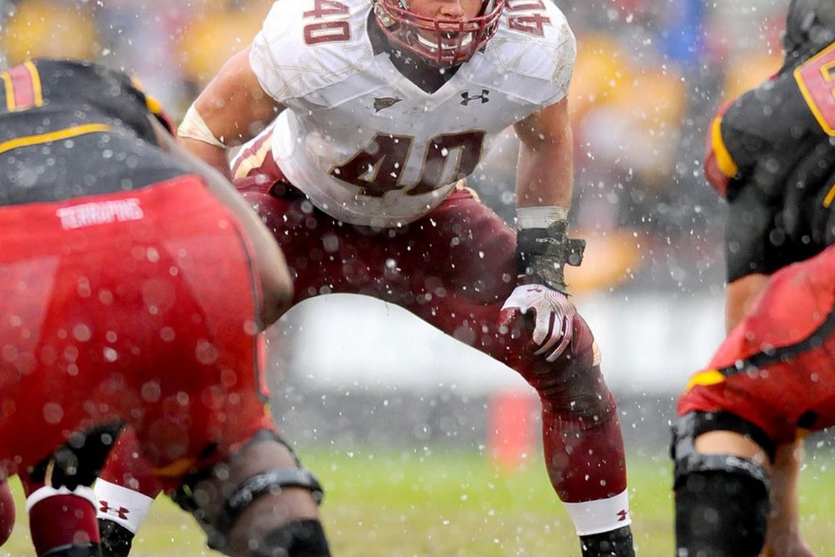 October 29, 2011; College Park, MD, USA; Boston College Eagles linebacker Luke Kuechly (40) gets ready for the play in the game against the Maryland Terrapins at Byrd Stadium. Mandatory Credit: Evan Habeeb-US PRESSWIRE