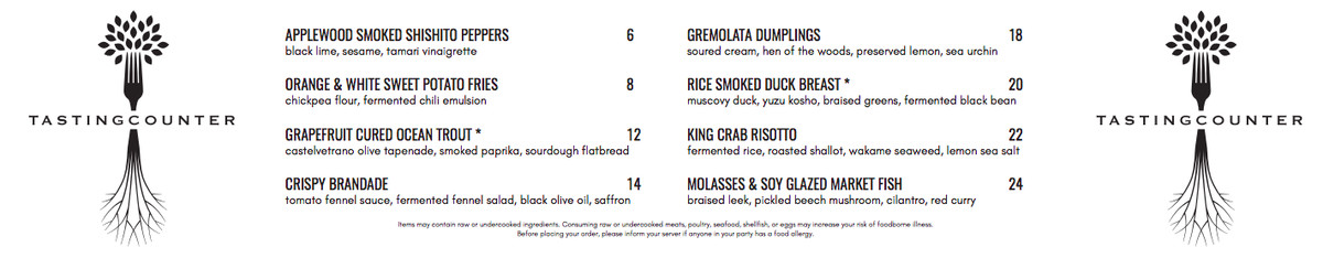 Tasting Counter's Time Out Market Boston opening menu