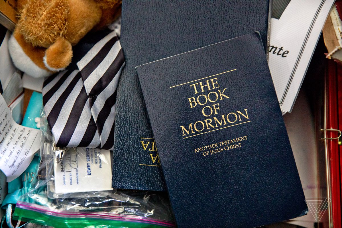 Joseph Hack's Book of Mormon and tie in a chest full of belongings from his mission for the LDS Church. Hack just recently had his name removed from the LDS church record using quitmormon.com.