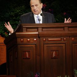 President Thomas S. Monson speaks during the 182nd Annual General Conference for The Church of Jesus Christ of Latter-day Saints in Salt Lake City  Sunday, April 1, 2012.