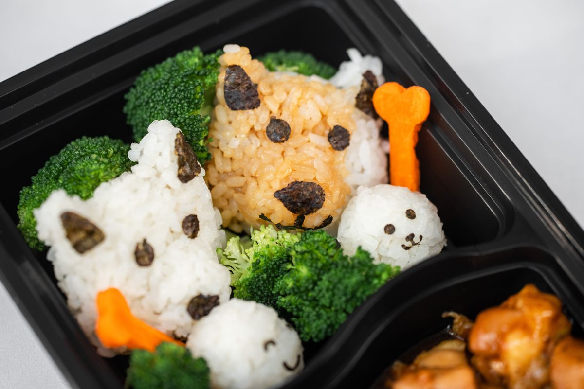 a bento box filled with rice shaped to look like two puppies, alongside carrots cut in the shape of bones