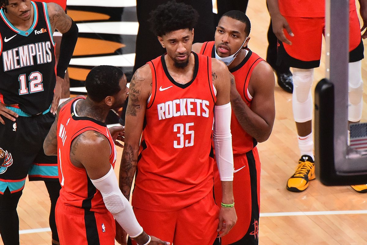 Christian Wood of the Houston Rockets reacts after a injury during the second half against the Memphis Grizzlies at FedExForum on February 04, 2021 in Memphis, Tennessee.