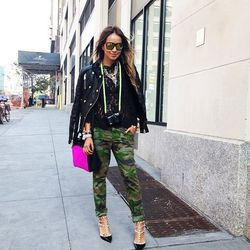 """Julie of <a href=""""http://sincerelyjules.com""""target=""""_blank"""">Sincerely, Jules</a> is wearing a Joie lace top and camo pants. (<a href=""""http://instagram.com/p/eGOGT_B3tx/""""target=""""_blank"""">@sincerelyjules</a>)"""