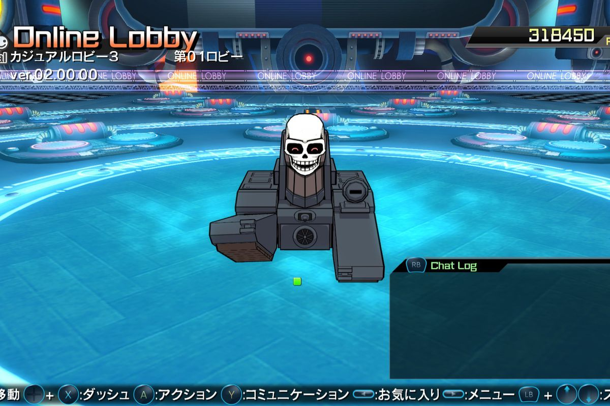 An animated tank with a skull for a head in the fighting arena of BlazBlue Cross Tag Battle