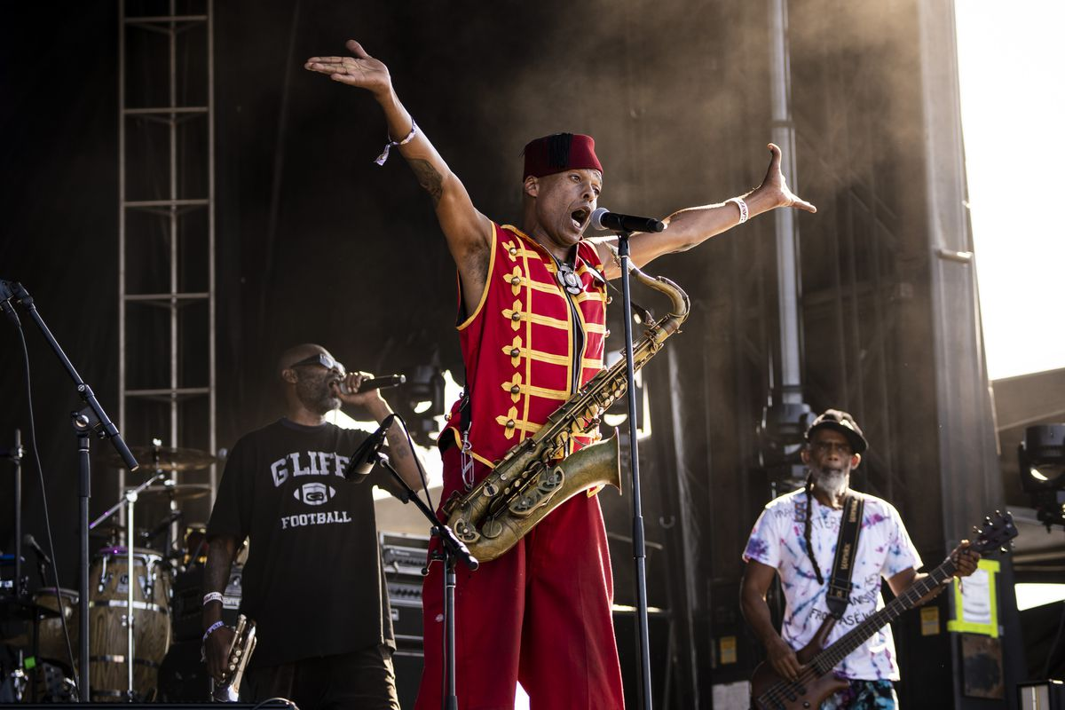 Fishbone performs Friday afternoon on the second day of Riot Fest at Douglass Park.