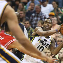Utah Jazz's point guard Alec Burks (10) looks to pass the ball to Utah Jazz's center Enes Kanter (0) as the Jazz and the Rockets play Saturday, Nov. 2, 2013 in EnergySolutions arena. Jazz lost 104-93.
