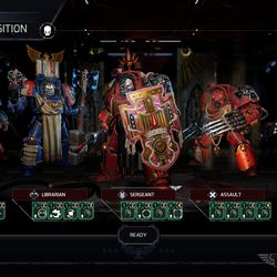 The basic loadout of a Blood Angels unit. Customization extends to individual body parts, including 3D models, textures and colors