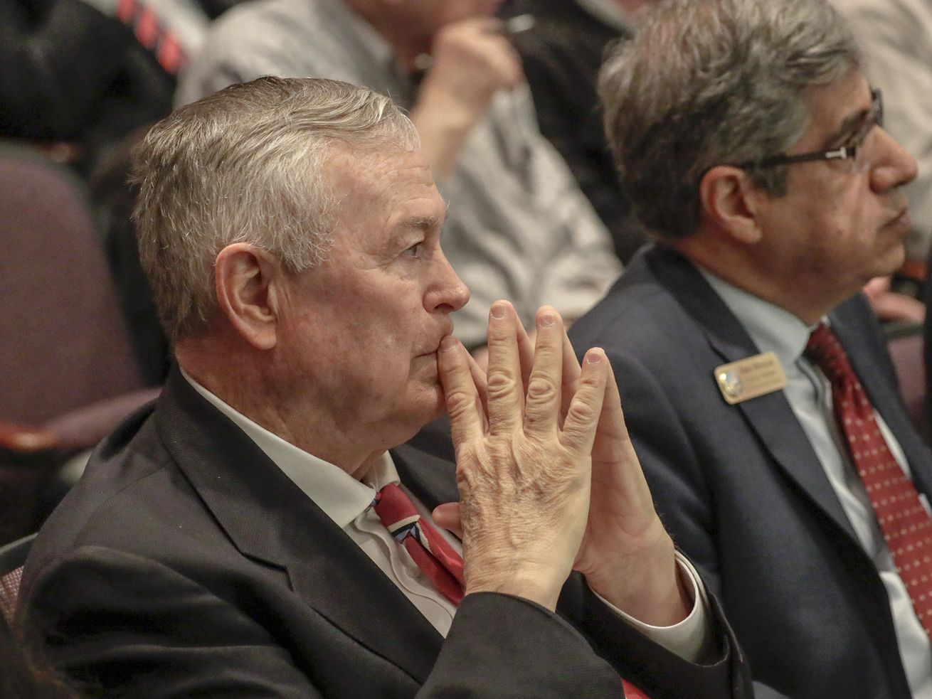 Rep. Dana Rohrabacher at the Orange County Board of Supervisors meeting on March 27, 2018, in Santa Ana, California.
