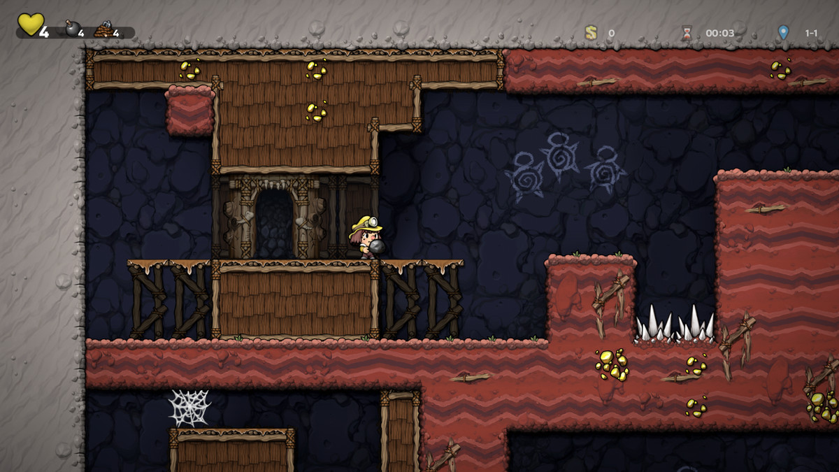 An adventurer holds a rock in Spelunky 2