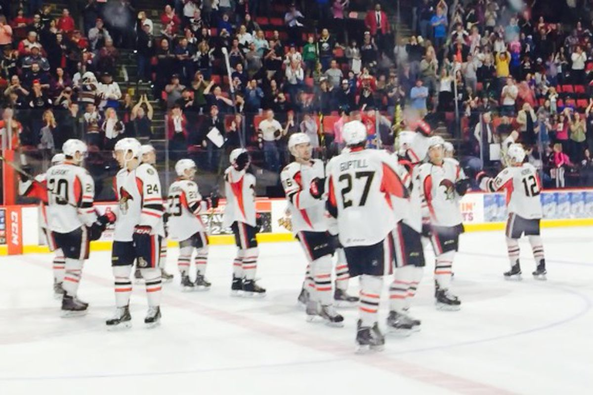 Binghamton Senators show their respect to the home fans one final time.