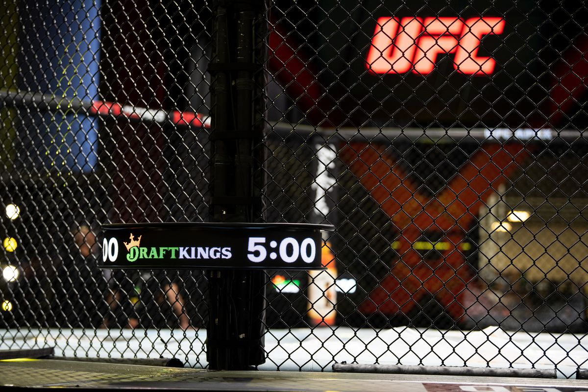 The UFC Fight Clock outside the Octagon.
