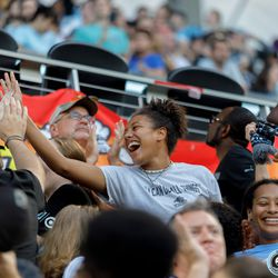 July 10, 2019 - Saint Paul, Minnesota, United States - Fans in the Wonderwall celebrate as Minnesota United go up 6-1 during the quarter-final match of the US Open Cup against New Mexico United at Allianz Field.