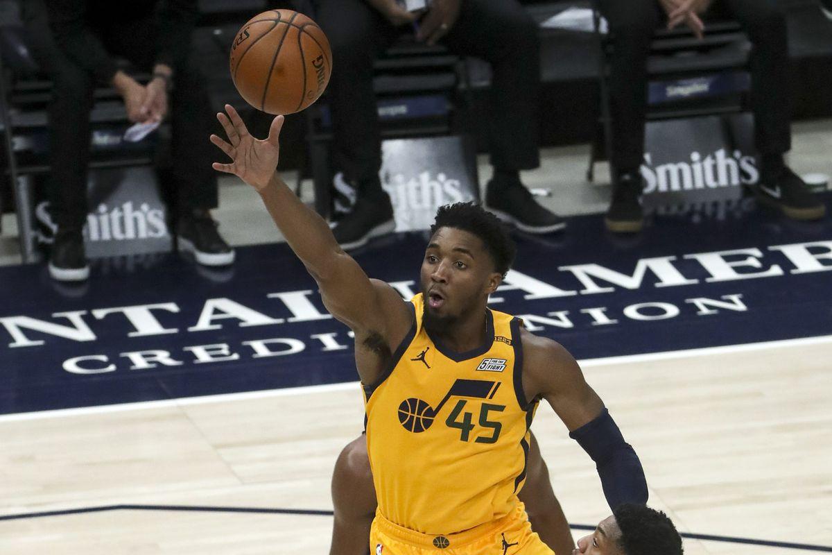 Utah Jazz guard Donovan Mitchell (45) floats up a shot during the New York Knicks and Utah Jazz NBA basketball game at Vivint Smart Home Arena in Salt Lake City on Tuesday, Jan. 26, 2021.
