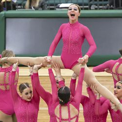 Maple Mountain competes in the dance category of the 5A state drill team finals at the UCCU Center in Orem on Thursday, Feb. 4, 2021. Other categories are military and show.