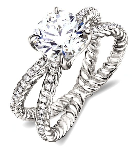 like the top ringwith its huge stone and criss cross double cable bandwith pave diamond accents for extra glamour david yurman official site - David Yurman Wedding Rings