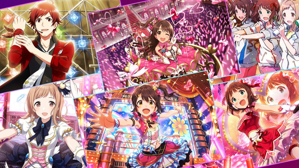 Graphic grid of screen images from the Idolmaster series