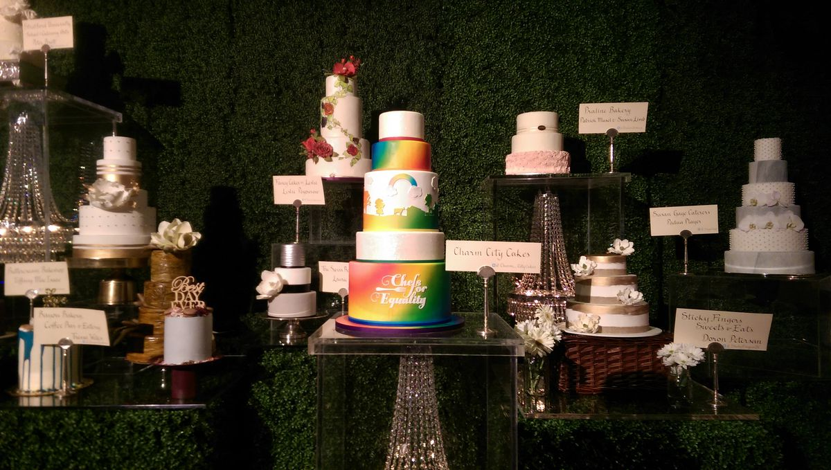 Stunning wedding cakes at Chefs for Equality [Photo: Missy Frederick]
