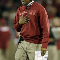 Stanford head coach David Shaw argues a call during the second half of an NCAA college football game against San Jose State in Stanford, Calif., Friday, Aug.  31, 2012.  Stanford won, 20-17.