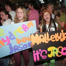 Young fans cheer for Jason Castro before the start of the American Idols Live concert at the E Center in West Valley on Monday night.