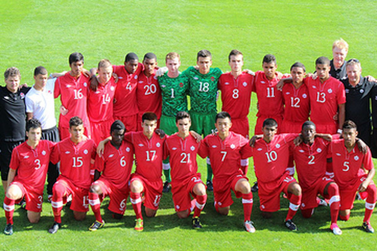 Canada's U17 team at the AGS Cup including a number of TFC academy players