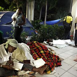 Hundreds of LDS Church members and others camp in tents and on the ground at the Petionville LDS Meetinghouse in Petionville near Port-au-Prince, Haiti on Wednesday, Jan., 27, 2010.