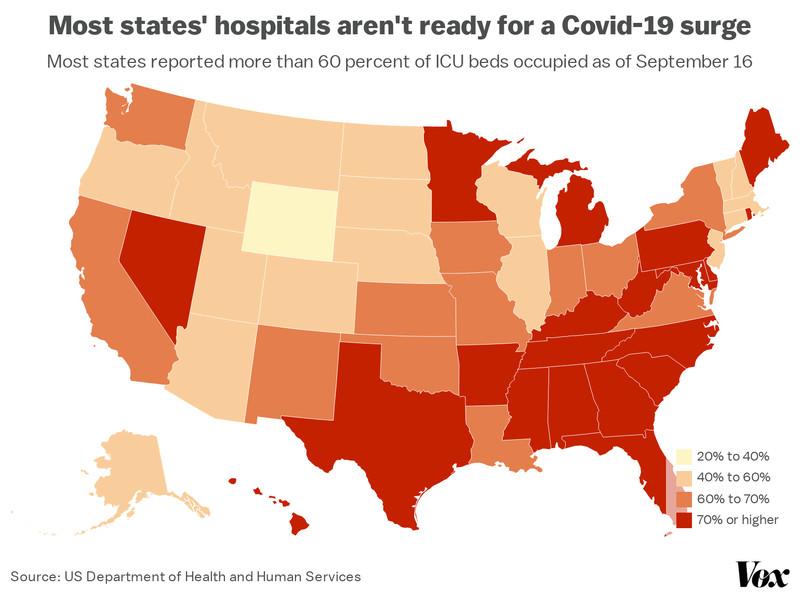 A map of ICU occupancy in each state.