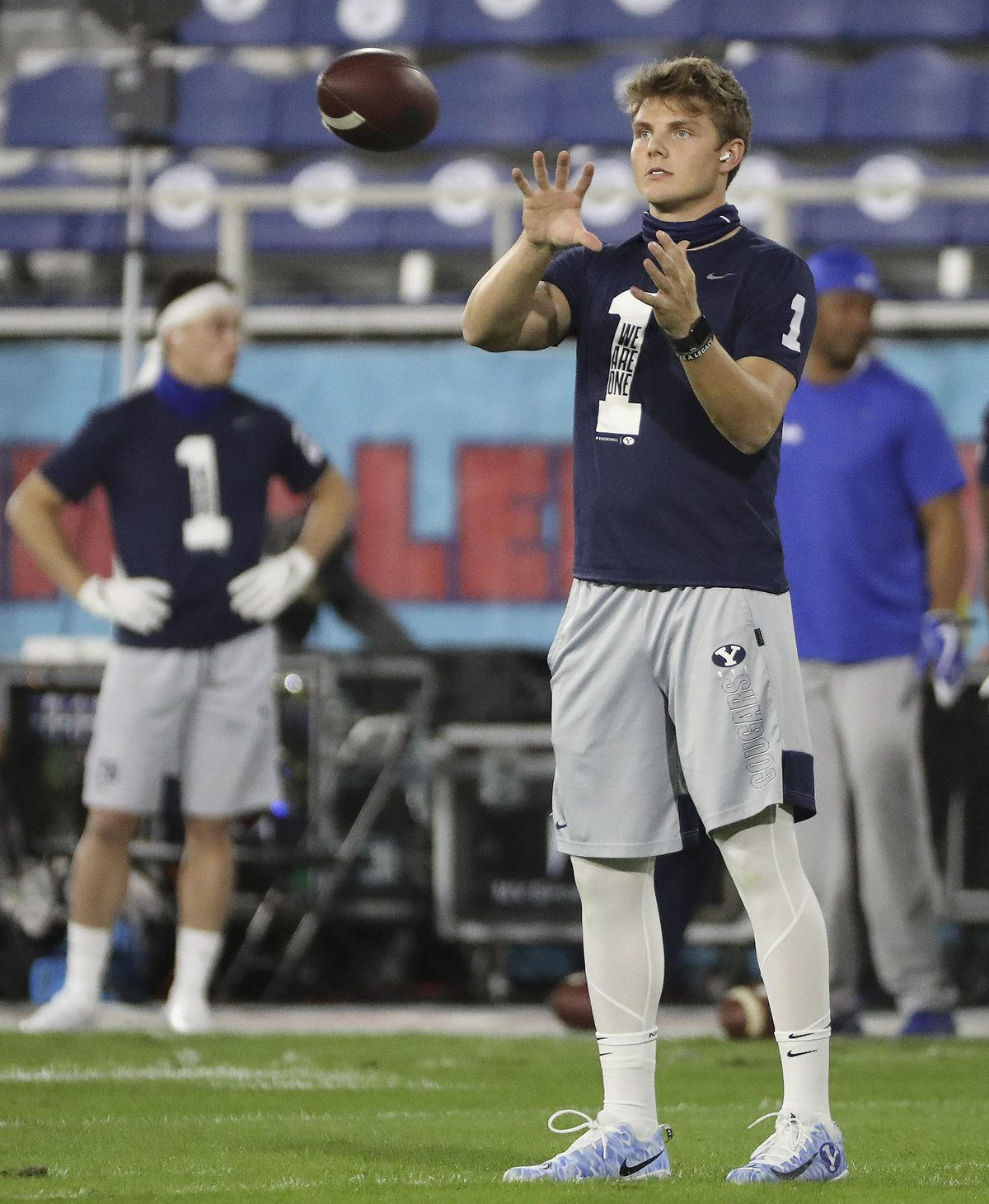 BYU Cougars quarterback Zach Wilson (1) warms up prior to the Boca Raton Bowl in Boca Raton, Fla., on Tuesday, Dec. 22, 2020.